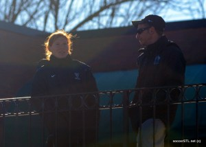 Lori Chalupny and Vince Gentile at Soccer Park