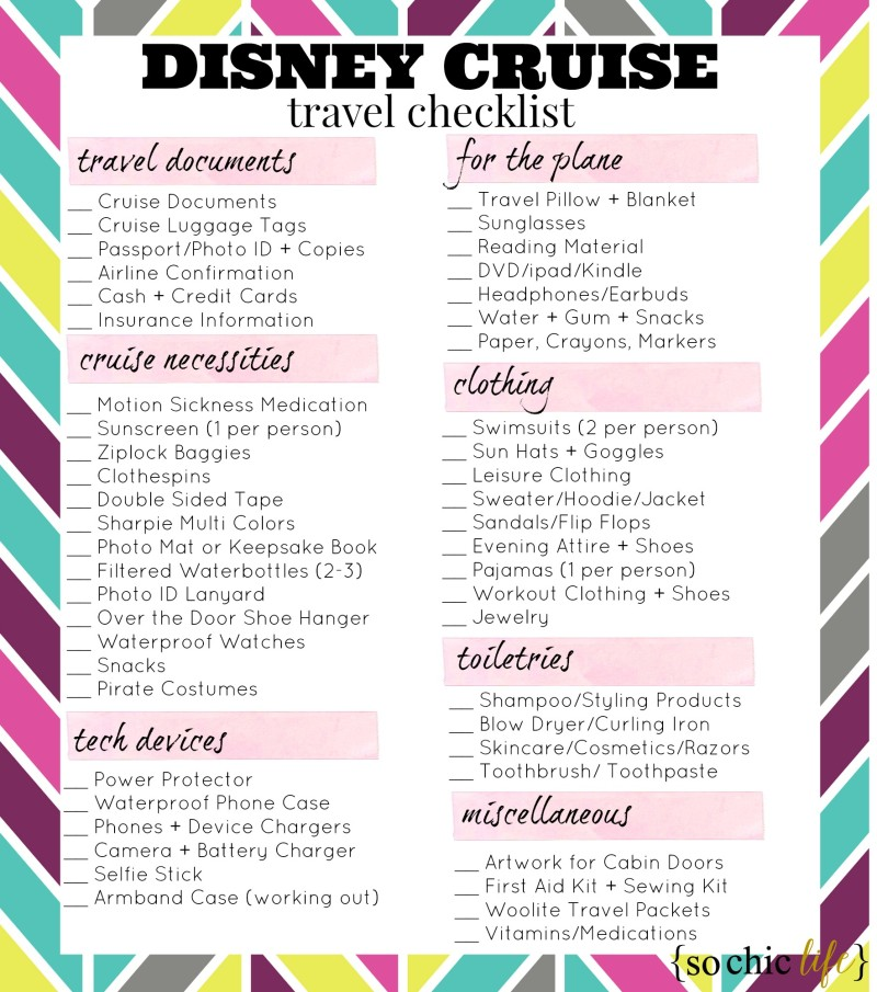 What to Pack for a Disney Cruise So Chic Life - 7 day cruise packing list