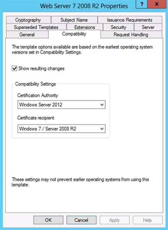 Certificate Templates Not Available for Windows 7 and Windows Server