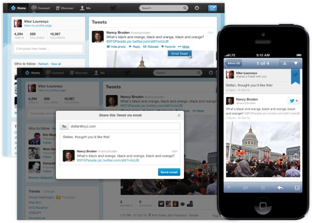 Twitter Adds Option To Share Tweets Via Email