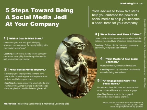 "Being a ""social media jedi"" can be done in 5 steps as suggested by Gerry Moran. (Image: via business2community.com)"