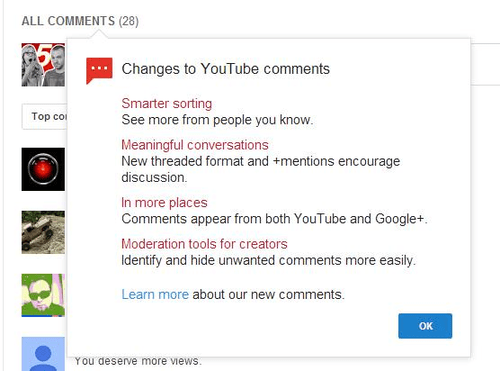 youtube comments with google+ integration
