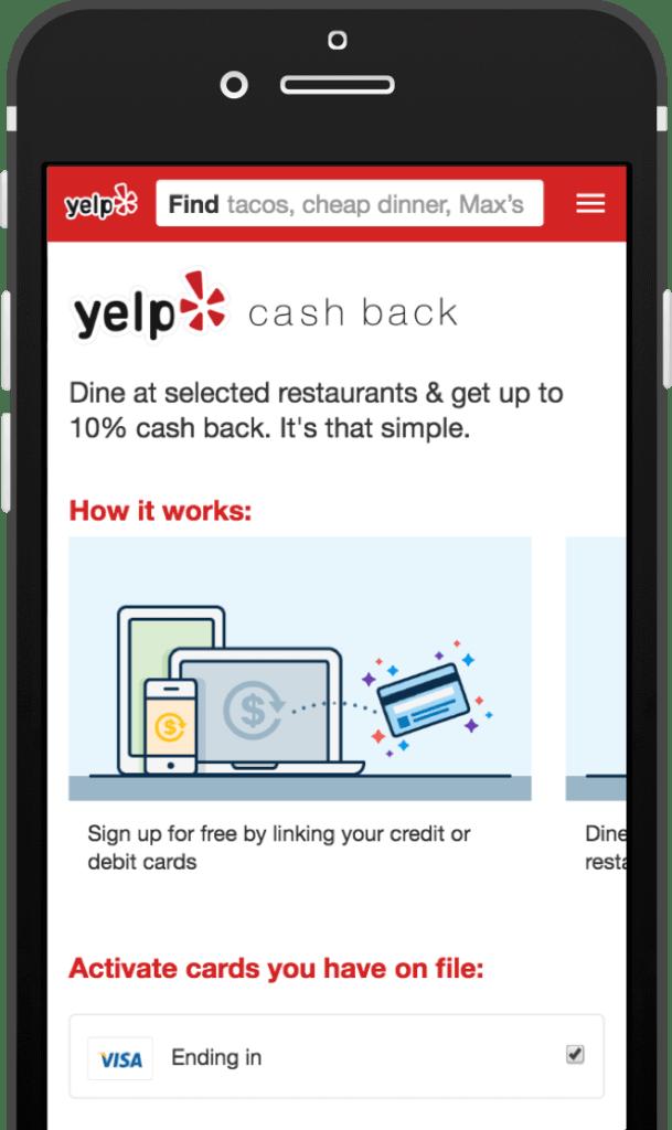 Yelp Rewards: Up To 10% Cash Back