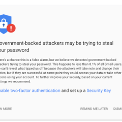 Google warns users of probable government-backed attack