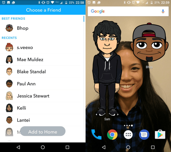 Snapchat's new Bitmoji widgets will let you hit the ground chatting