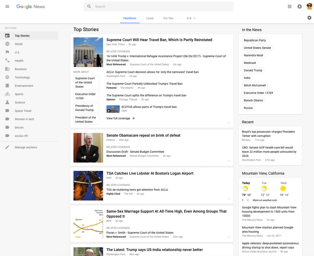 Google News website gets redesigned, now looks like something from this decade