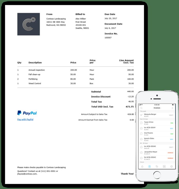 microsoft invoicing