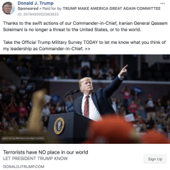 Trump's campaign team taking advantage of US/Iran crisis to run hundreds of Facebook ads