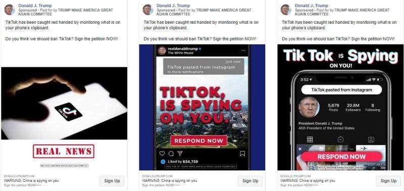 donald trump tiktok facebook ads