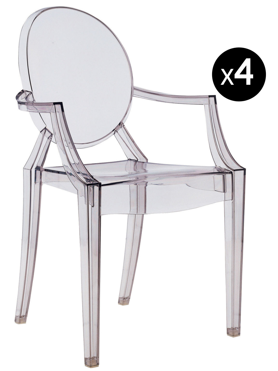 Louis Ghost Stackable Armchair Set Of 4 Fumé Design Philippe Starck For Kartell Sdm Product Selection
