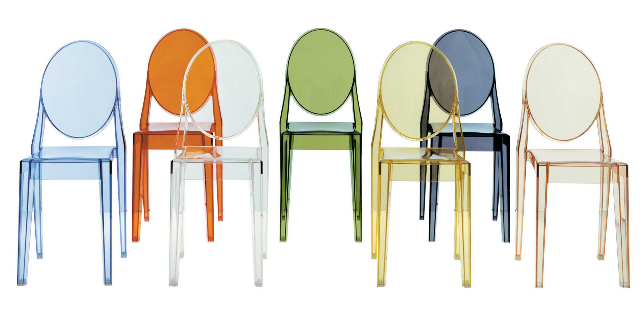 Victoria Ghost Stackable Chair Set Of 4 Blue Design Philippe Starck For Kartell Sdm Product Selection