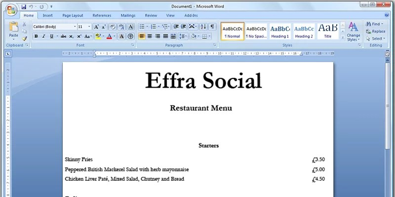 how to create a restaurant menu in word