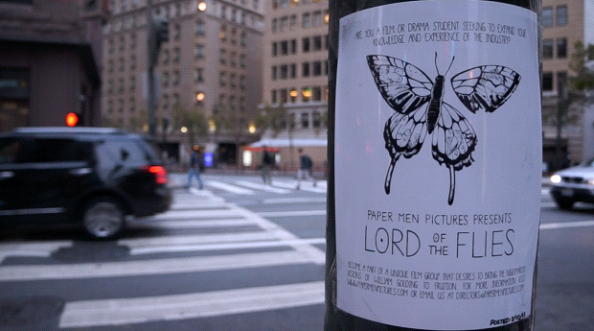 A film poster made by Paper Men Pictures depicting their newest project, a film adaptation of Lord of the Flies, in downtown San Francisco, California.