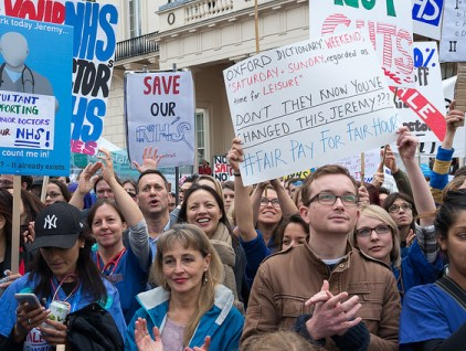 Protest against Health Secretary Jeremy Hunt's plan to impose new, onerous, contracts on junior doctors in the NHS, and against the creeping privatization of the health service.   Photo: RonF