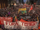 March against Temer – with a banner signed by several socialist groups