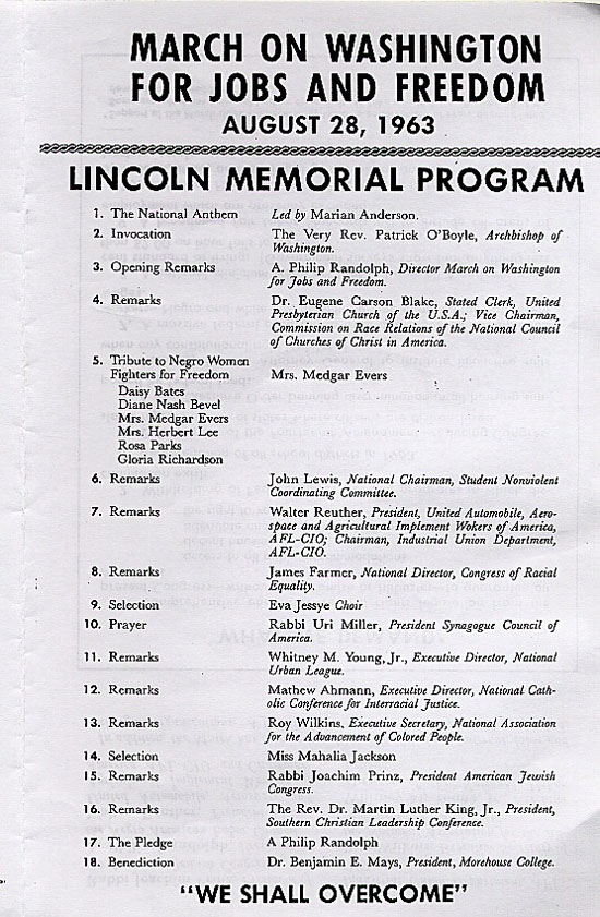 March on Washington, DC Lincoln Memorial Program - Social Welfare - memorial program