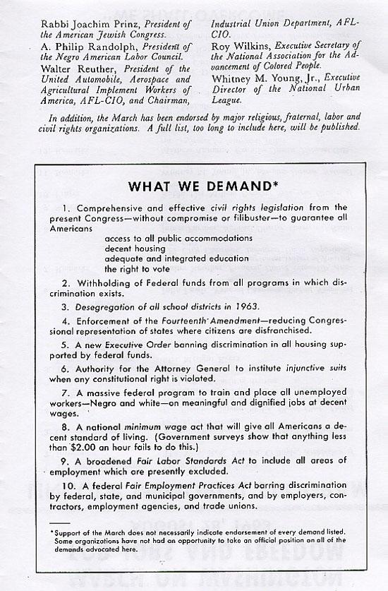 March on Washington, DC Lincoln Memorial Program - Social Welfare