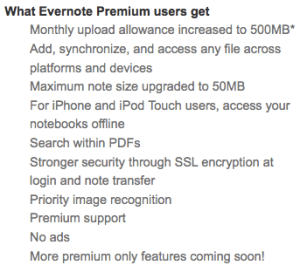 A list of premium features for Evernote