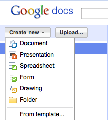 Screenshot of the different documents you can create with Google Docs