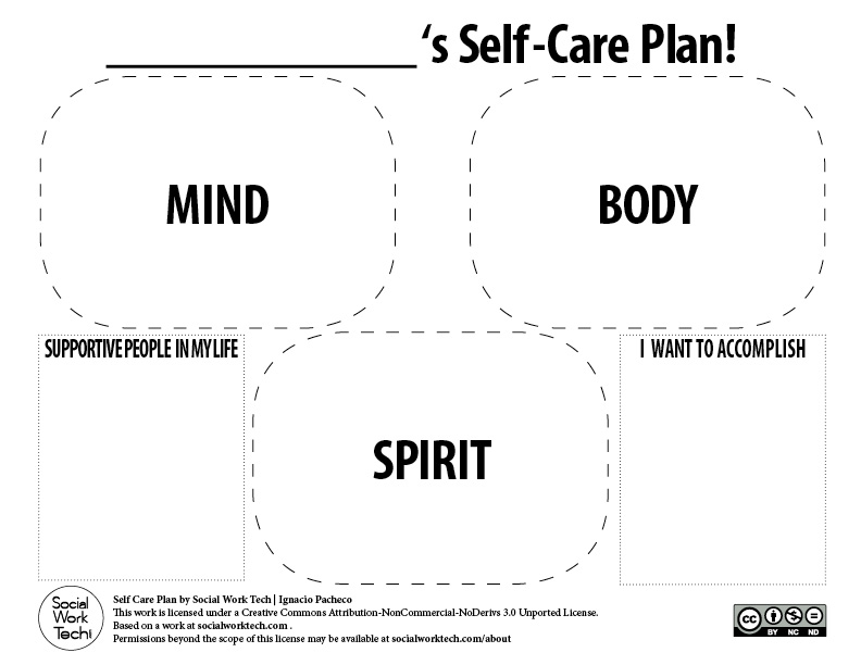 Making a Self-Care Plan for You and Your Clients! \u2013 Social Work Tech - care plan template