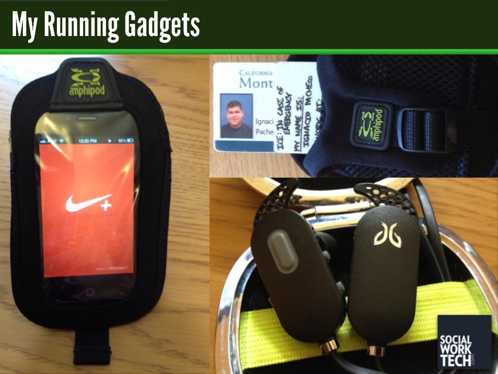 Image of my running gadgets (described below)