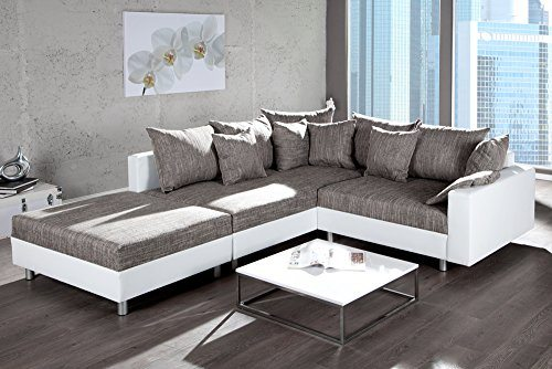 Big Sessel Grau Design Ecksofa Mit Hocker Loft In Weiss
