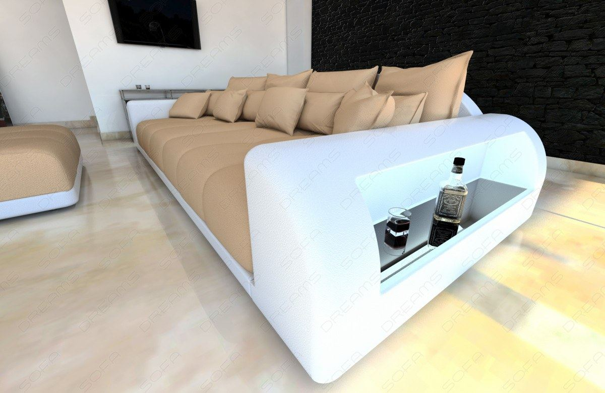 Big Sofa Xxl Beige Detalles Acerca De Xxl Big Sectional Sofa Bed Miami With Led Lights And Big Stool Colour Selection