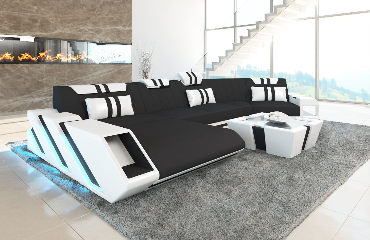 Sofa Sectional Fabric New Jersey C Shape Corner Couch Led Lights Ebay