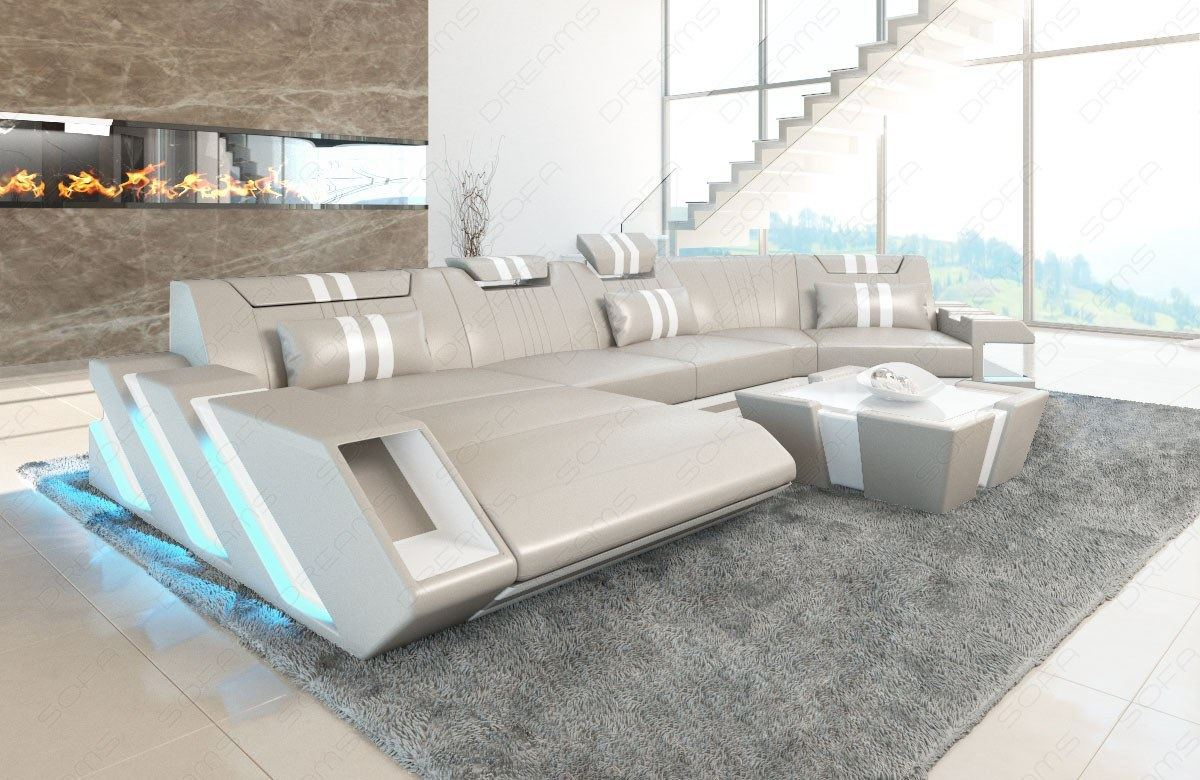 Sectional Sofa Genuine Leather New Jersey C Shape Cornersofa Led Light Usb Ebay