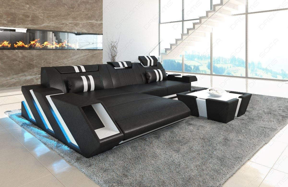 Leather Sectional Sofa New Jersey L Shape Led Lights Design Sofa Luxury Ebay