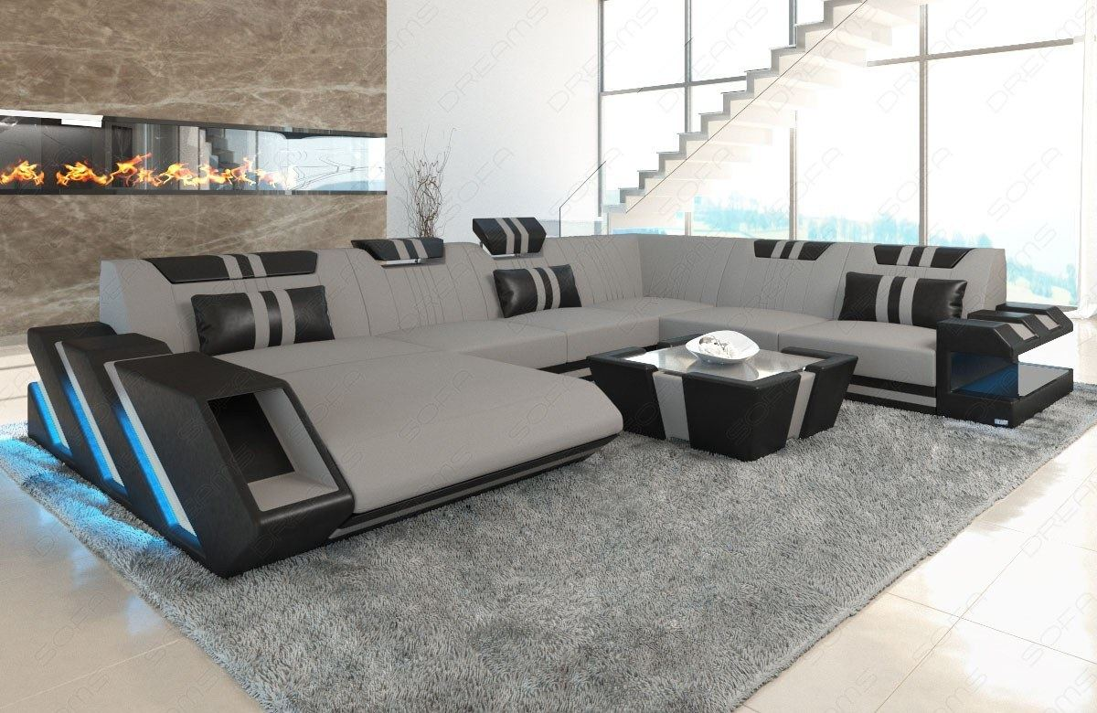 Xl Sofa Grau Details About Sectional Sofa Fabric New Jersey Xl Designsofa Colour Led Lights