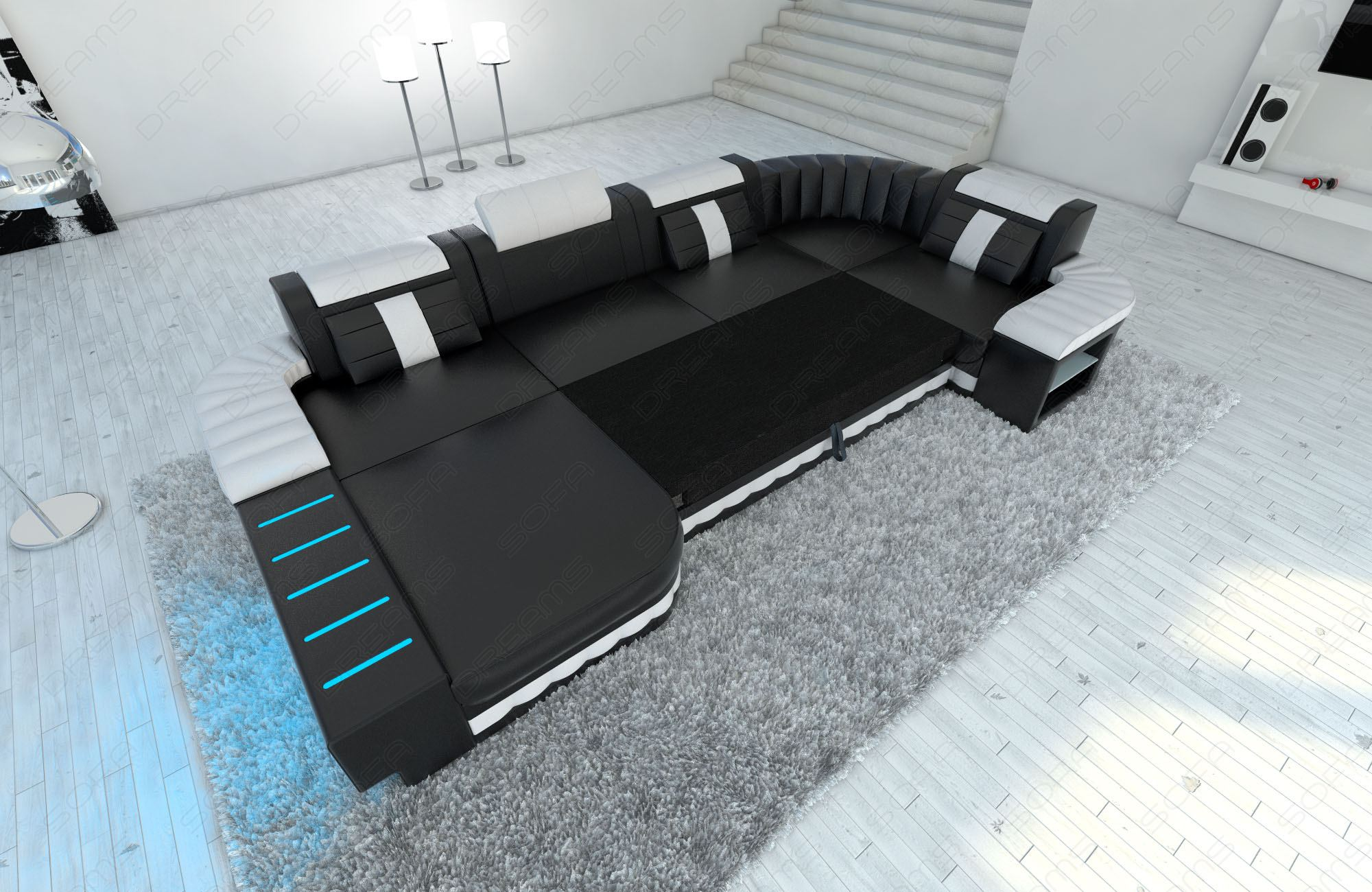 U Sofa Detalles Acerca De Sofa Bellagio U With Led Lighting Big Sectional Leather Colour Selection Couch