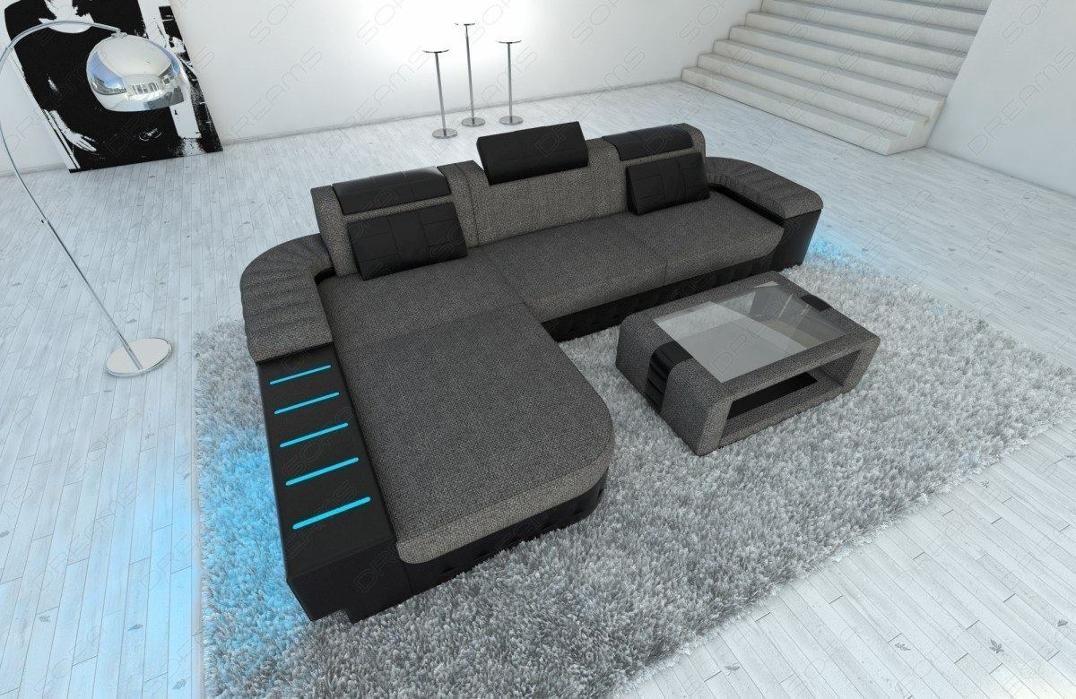 Graue Stoffcouch Stoffcouch Designsofa Bellagio L Form Led Beleuchtung