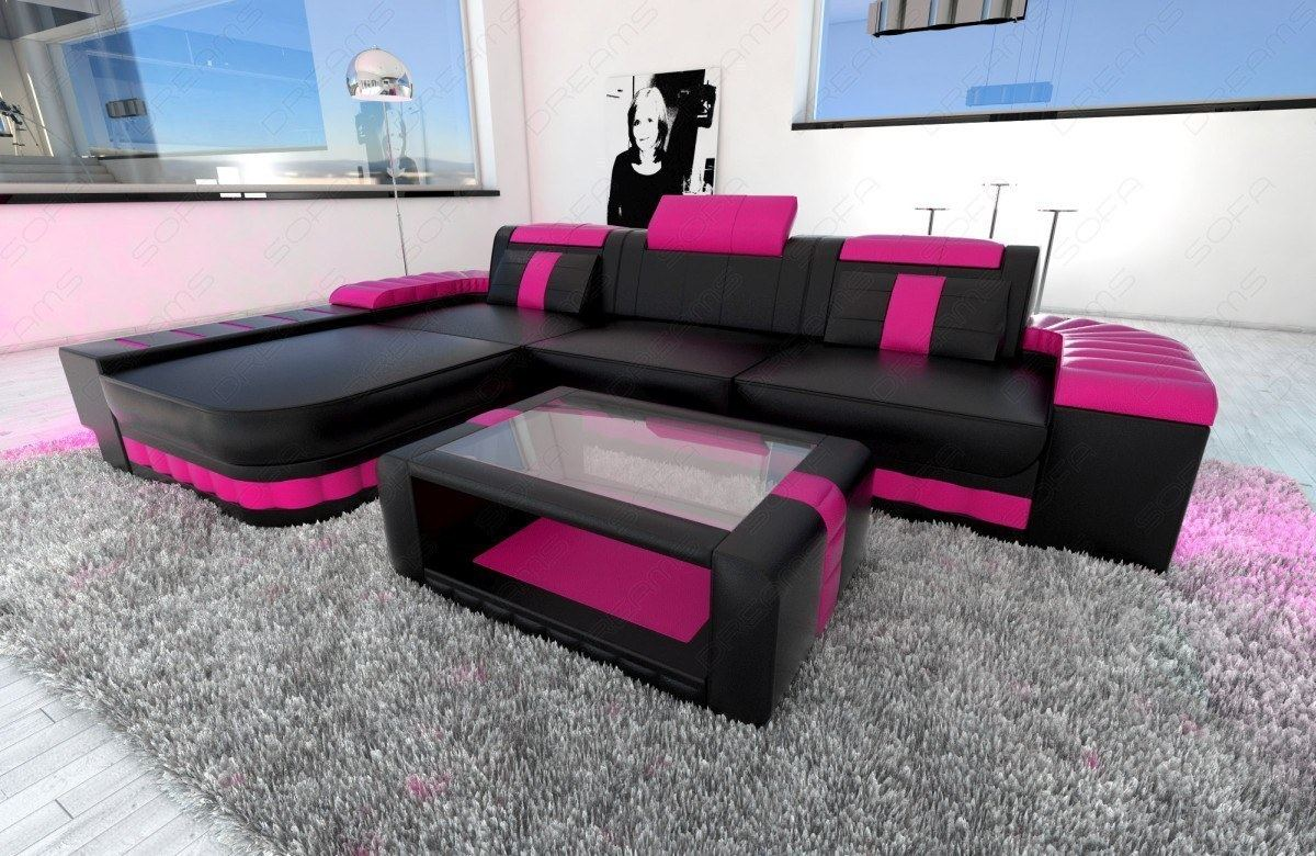 Couchtisch L Form Ledersofa Bellagio L Form Design Sofa Couch Mit Led