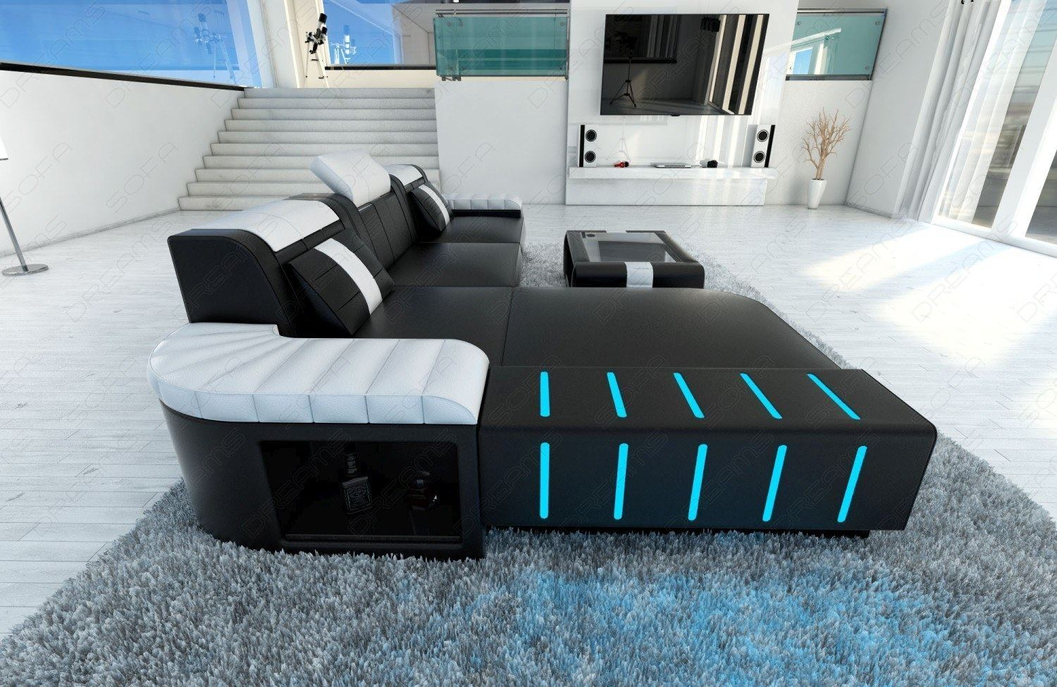 Led Couch Modern Sofa Bellagio Led L Shaped Black White Ebay
