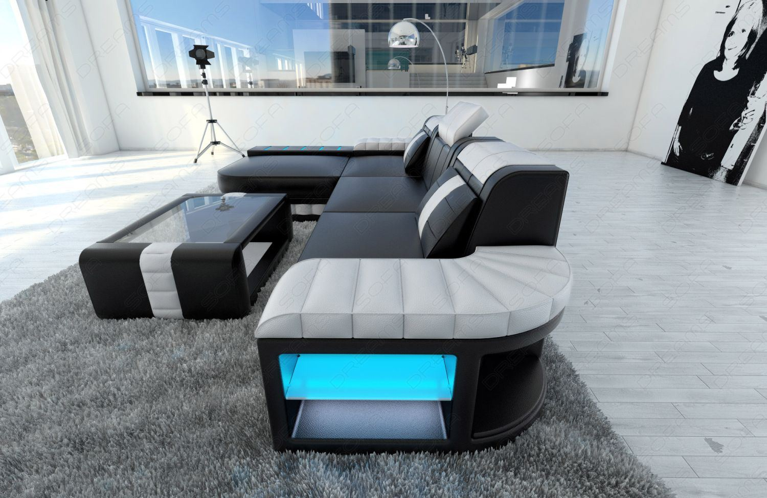 Sofa Led Modern Sofa Bellagio Led L-shaped Black White | Ebay