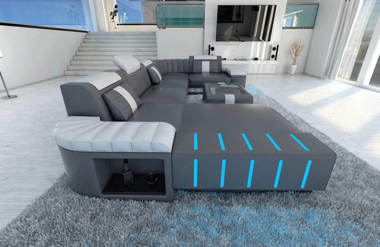 Led Couch Polstersofa Wohnlandschaft Bellagio U Form Design Sofa Mit