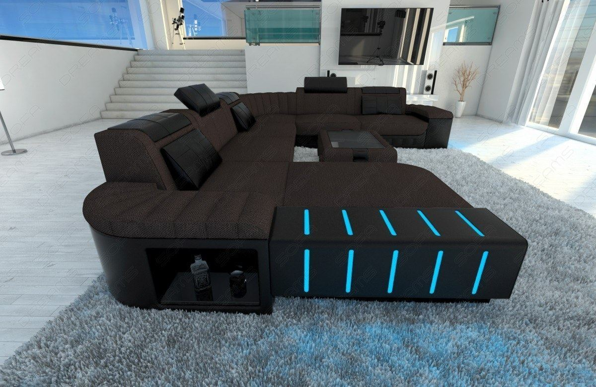 Led Couch Fabric Sectional Sofa Bellagio Xxl Design Couch With Led