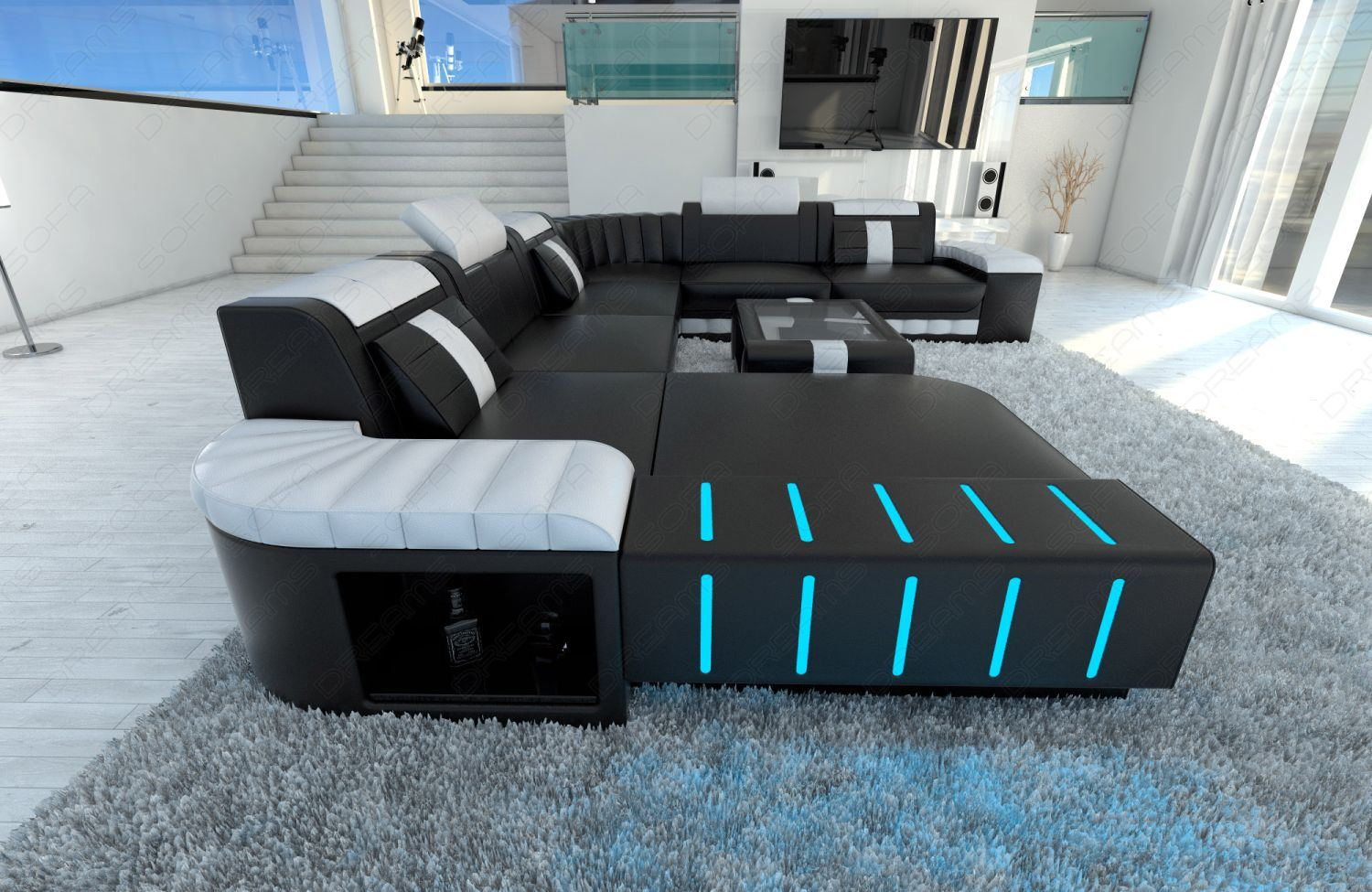 Sofa Led Xxl Sectional Sofa Bellagio Led U Shaped Black White | Ebay