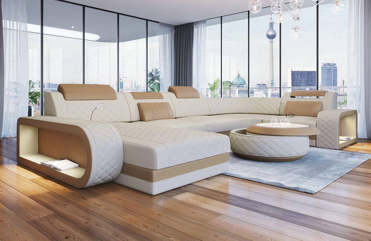 U Couch Details About Fabric Sectional Sofa Charlotte U Shape Designer Couch With Led Lights