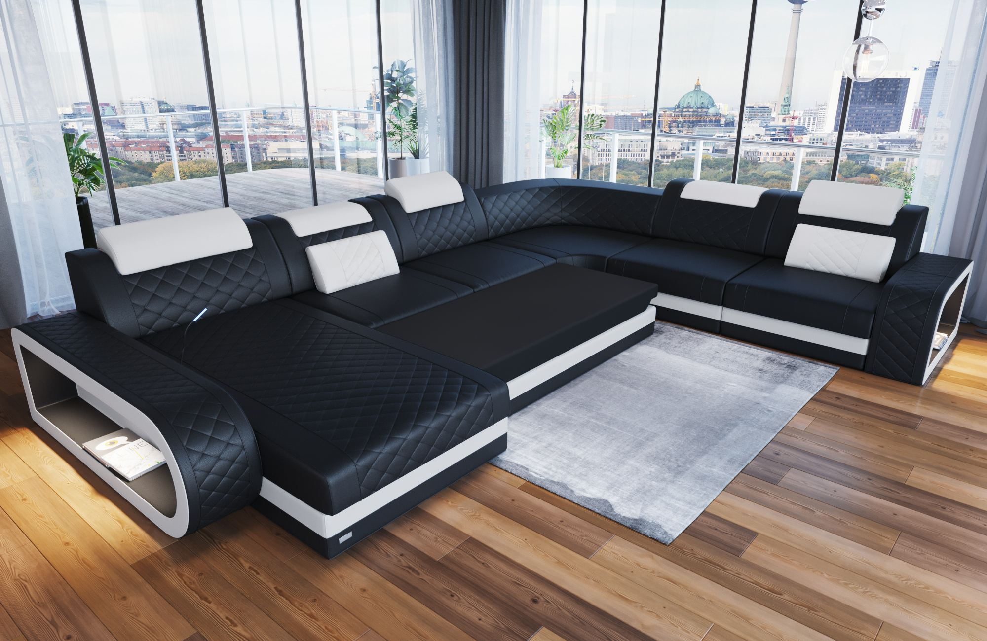 Sofa Funktion Details About Luxury Sectional Sofa Charlotte Xl Led Lights Genuine Leather Design