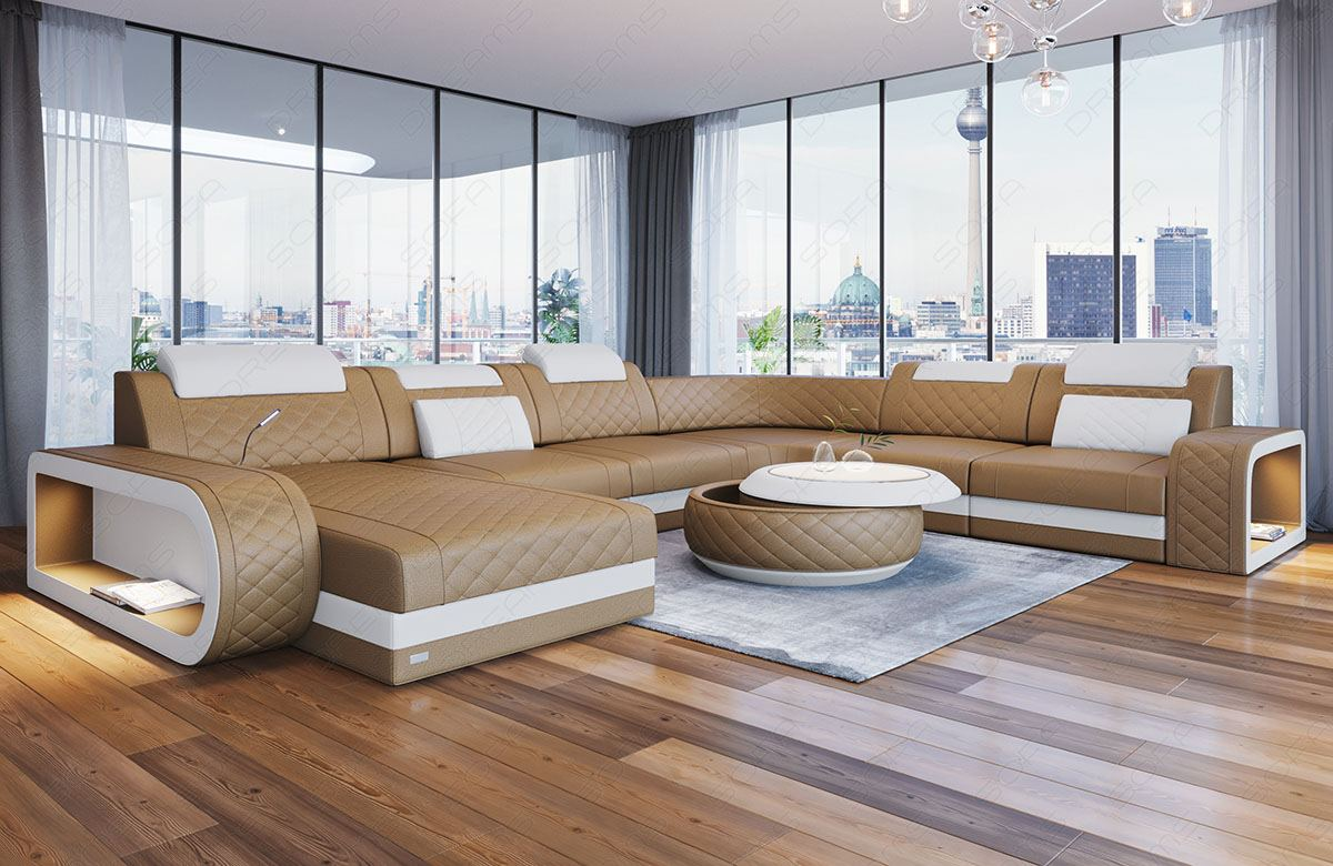 Sofa Jacksonville Xl Details About Luxury Sectional Sofa Charlotte Xl Led Lights Genuine Leather Design
