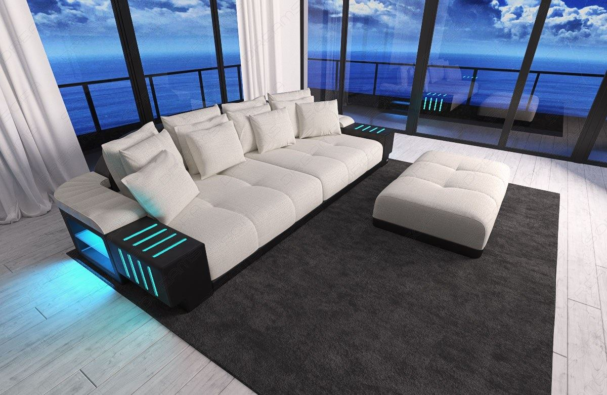 Sofa Led Xxl Big Sectional Sofa Bellagio Led Lights And Big Stool