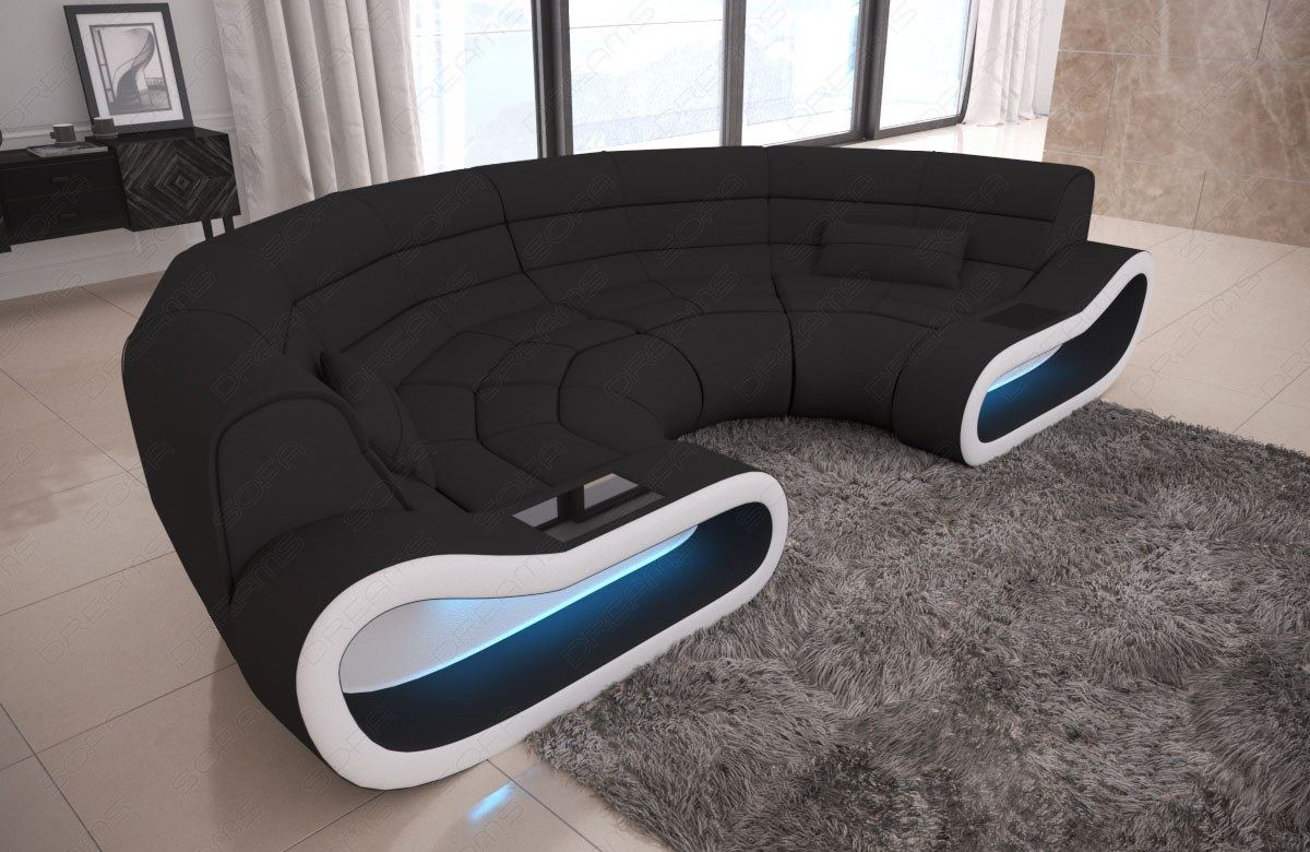 Fabric Big Couch Concept C Shape Design Sofa Modern Luxury Couch Led Lights Ebay