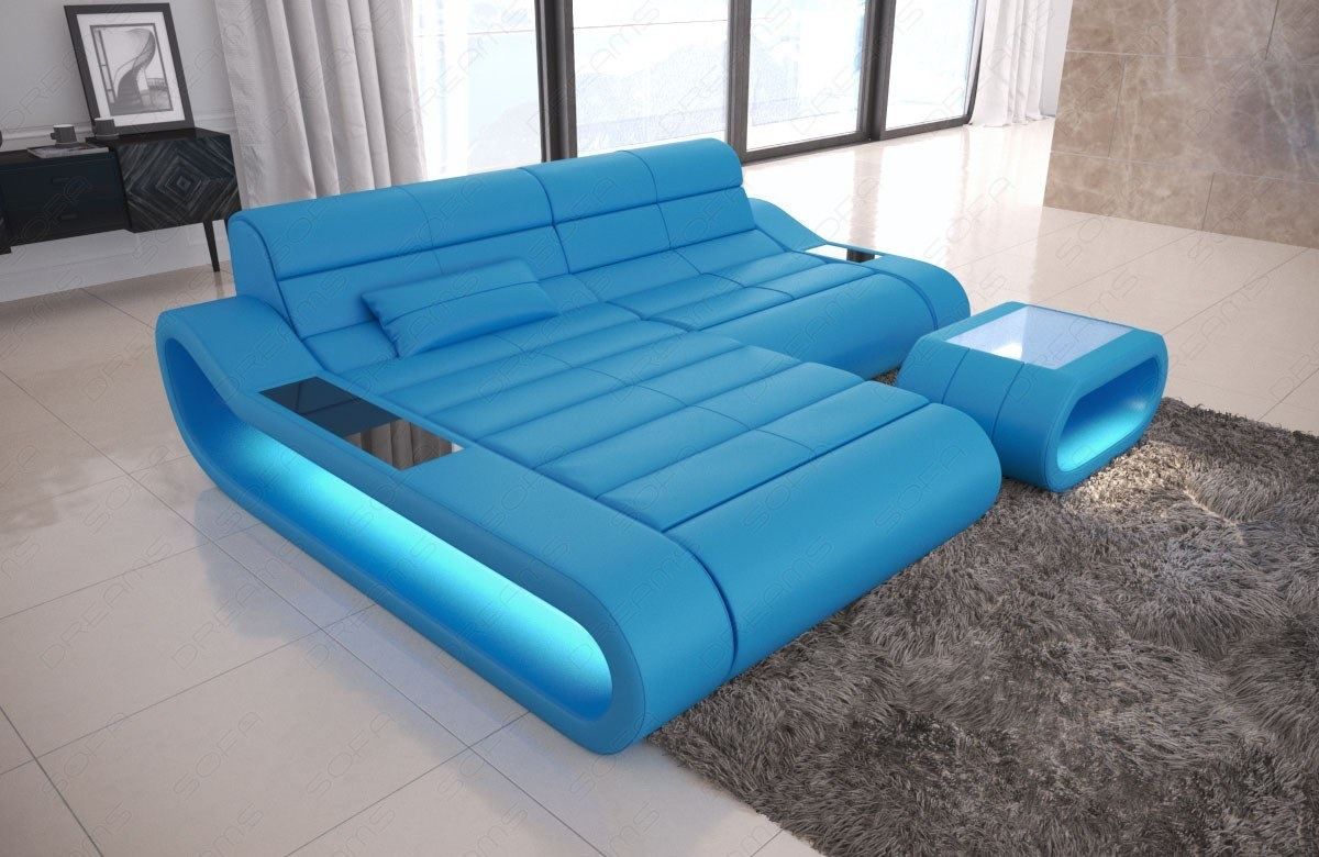 Design Leather Sofa Concept L Shape Short Luxury Corner Couch With Led Lights Ebay