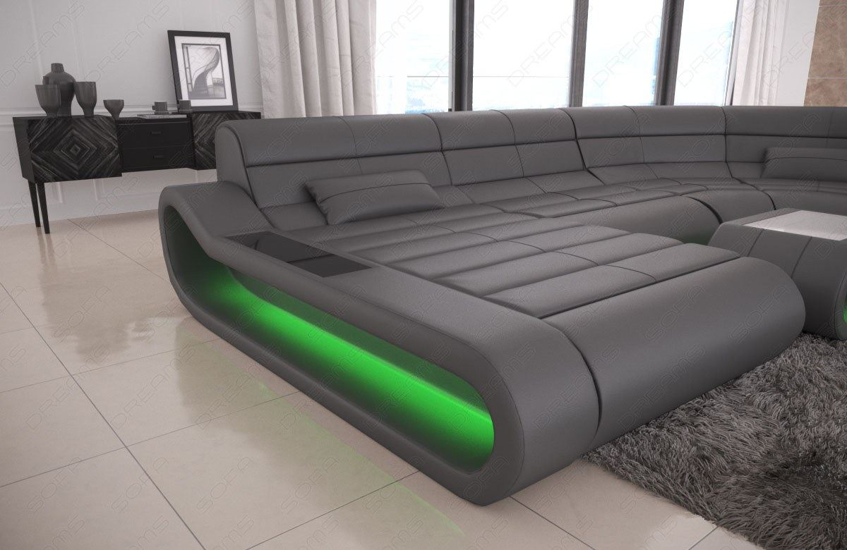 Couch U Form Grau Luxury Sectional Sofa Concept U Shape Design Couch Big Led Lights Ottoman | Ebay