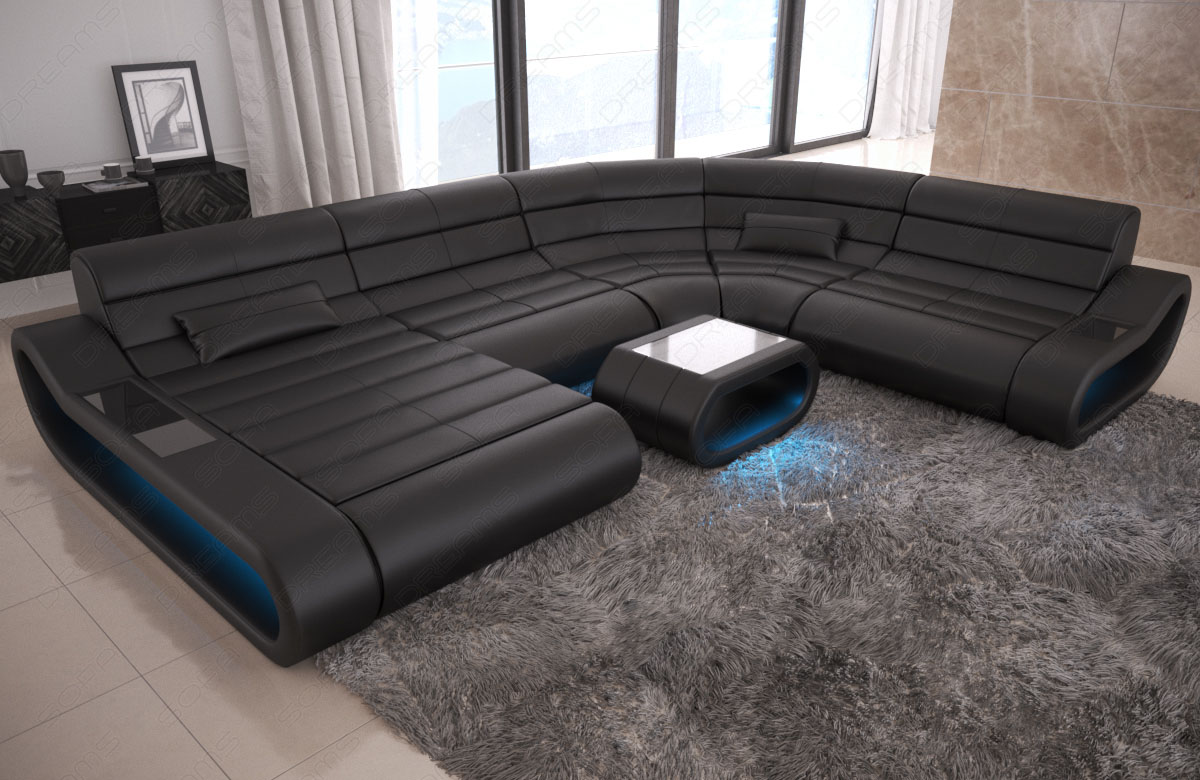 Designer Couch Schwarz Details About Luxury Sectional Sofa Concept Xl Design Couch Big Led Lights Ottoman