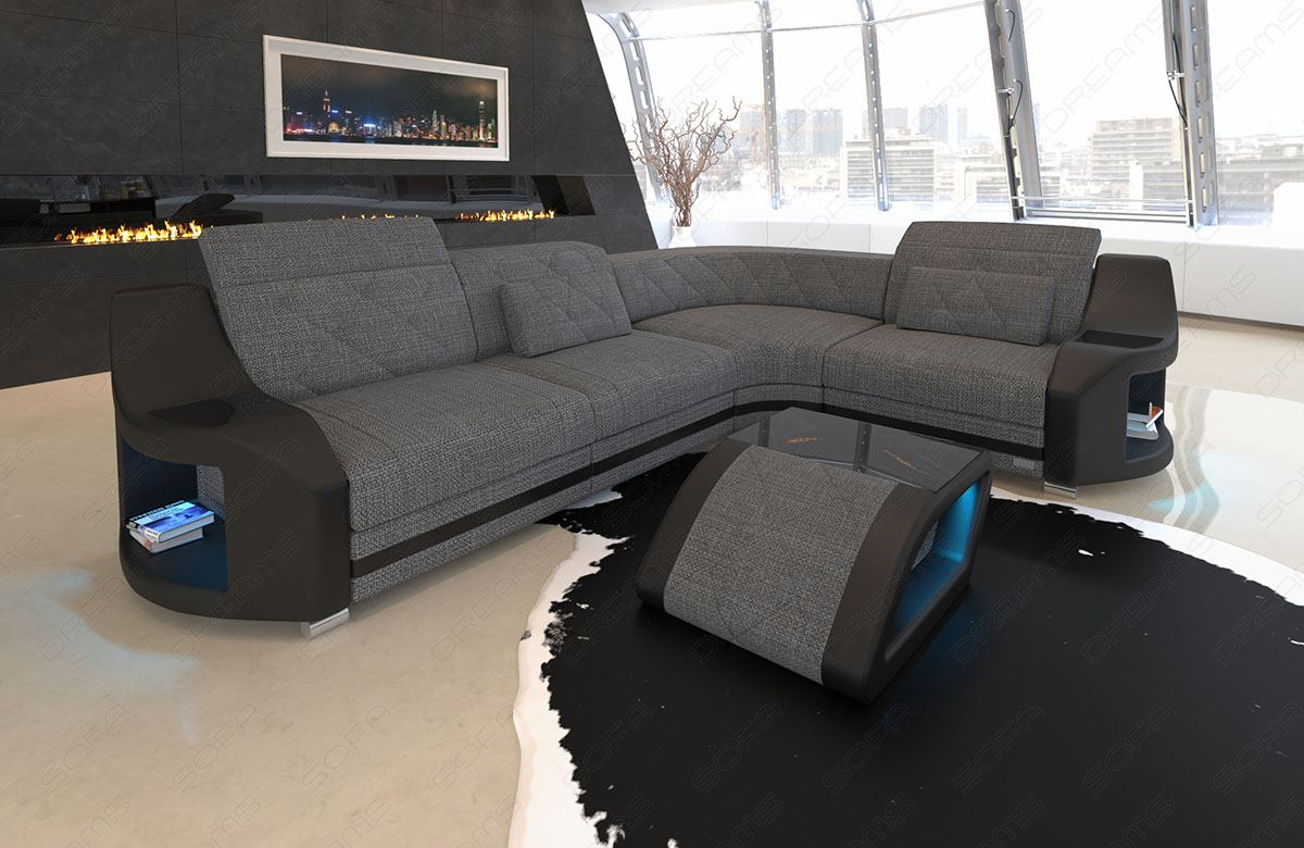 Fabric Luxury Sofa Columbia L Shape Designer Couch With Led Light Ebay