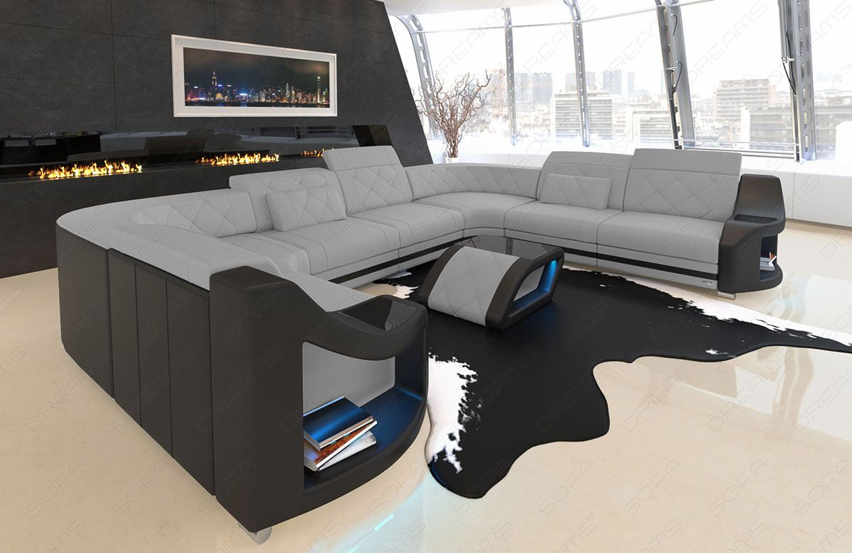 Fabric Sectional Sofa Columbia U Shape Designer Couch With Led Light Ebay