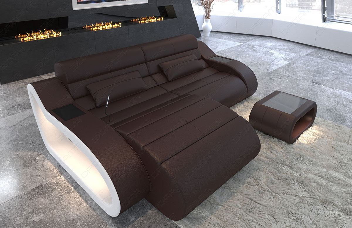 Couch L Form Details Zu Design Leather Sofa Daytona L Shape Short Luxury Corner Couch With Led Lights